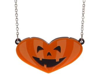 Pumpkin Heart necklace - laser cut acrylic
