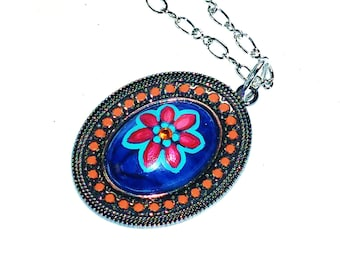 SALE Painted Flower Hippie Necklace Funky Boho Bohemian Jewelry FREE SHIPPING