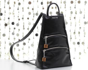 Black leather backpack purse, leather rucksack, backpack purse, women backpack, leather purse, leather bag, mini backpack, leather bag