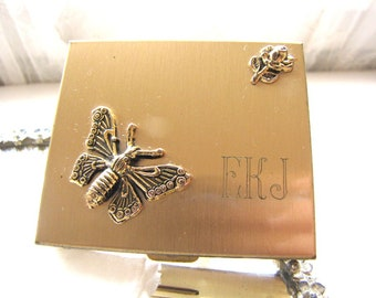 Vintage Gold Pill Box Compact Trinket Box Monogram with Butterfly and Rose from AllieEtCie