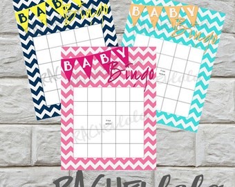 Baby shower bingo game, colored chevron, opening baby gifts game, boy, girl, printable template, pink, navy, teal, instant digital download