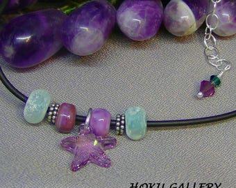 "Starfish Choker - Swarovski Crystal & Lampwork Glass Beads, Black Rubber Cord - 15 1/2"" + 2"" - Hand Crafted Artisan Jewelry"