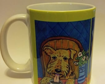 25% off airedale terrier at the coffee shop cafe dog art mug cup 11 oz dog art mug cup 11 oz gift