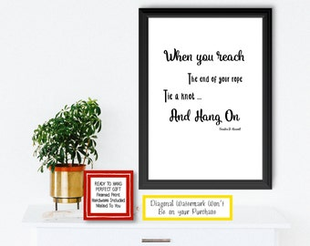 Inspiring Poster with Quote from Franklin D. Roosevelt. USA. President of United States. FDR. A Get Well Soon Gift. United States. Perseveri