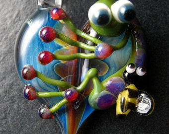 Gift idea  -  Spring - Bumble Bee Frog pendant - glass heart lampwork pendant focal bead necklace - Boomwire Glass jewelry