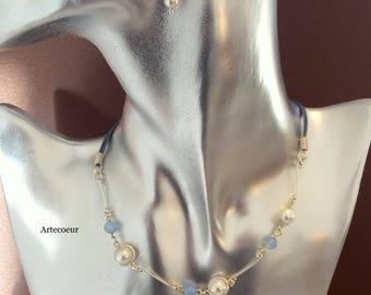Parure Mariage 3 pièces minimaliste perles de culture et Agate ton bleu et blanc plaqué argent et cuir bleu réglable