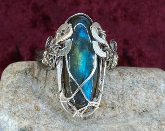 Fantasy ring,elwes ring,Fairy jewelry, labradorite Stone, Titanium anallergic wire, silver jewelry,Water of forest.