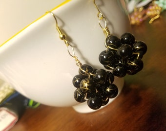 Black and Gold Elderberry Beaded Painted Glass Wire-Wrapped Cluster Dangle Earrings