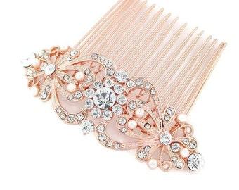Rose Gold Bridal Comb, Rose Gold Wedding Hair Comb, Rose Gold Hair Combs, Rhinestone Pearl Rose Gold Headpiece, Rose Gold Bridal Accessory