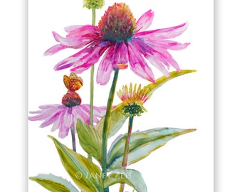 Purple Cone Flowers Original Painting Echinacea Floral Wall Art 11x14 on Yupo Paper by Janet Zeh Original Art
