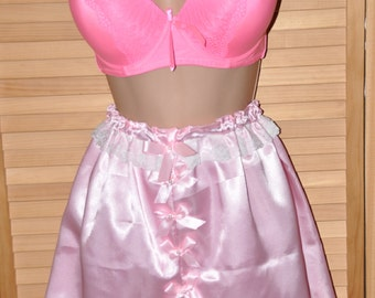 Double layered slithery baby pink satin lacy bloomers, lovely sexy comfort lingerie, Sissy Lingerie