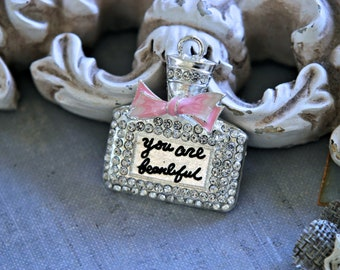 Beautiful Silver Toned Rhinestone Bottle Charm ~ Jewelry Findings for Cell Phone and Tablet Case Decorations, Crafting Charms, etc CH-515