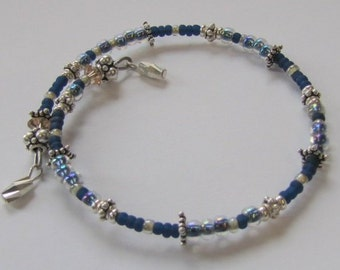 Memory Wire Bracelet, Sterling, One Loop Medium, Blue Seed Beads, Glass, Gift For Her, Under 25, Handmade USA, Britz Beads Supply
