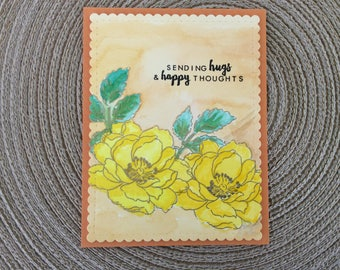 Handmade Greeting Cards: Friendship card with yellow flowers