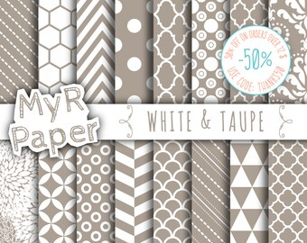 "SALE 50% Taupe Digital Paper: ""White & Taupe"" Digital Paper Pack and Backgrounds with Chevron, Damask, Triangles, Stripes and Polka Dots"
