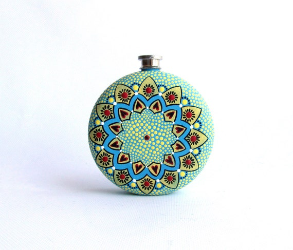 Round  Flask: Hand Painted 10 fl oz Stainless Steel flask Wedding gift Groomsman Groom Yellow and blue