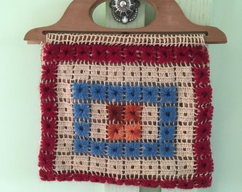Vintage Seventies Wooden Handle Crocheted Purse Granny Square Purse Boho Chic Handbag Festival Chic Handbag Collectable Handmade Purse
