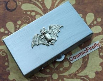 Vampire Bat Pill Box Small Size Pill Case Silver Tone Metal Pill Case Gothic Victorian Steampunk Pill Case Tiny Pill Case Batman
