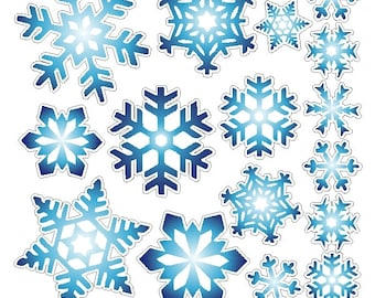 Peel and Stick Blue Snowflake Stickers Removable and Repositionable Snowflake Wall Decals