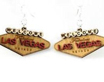 Las Vegas - Laser Cut Wood Earrings