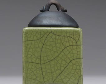 Ceramic box, white crackle, raku fired art pottery, keepsake box, handmade