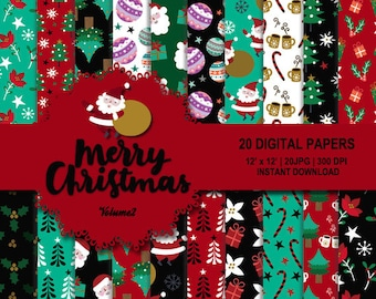 Christmas digital paper, Christmas background, x-mas digital paper, x-mas pattern, Tree, Santa Claus, Poinsettia, ornament, candy cane