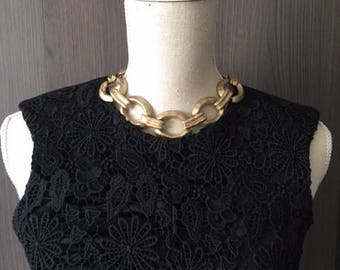 Vintage frosted clear gold color necklace/choker/high quality