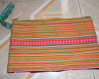 Sapa Hmong Cotton Embroidered Large Purse - Orange/Purple