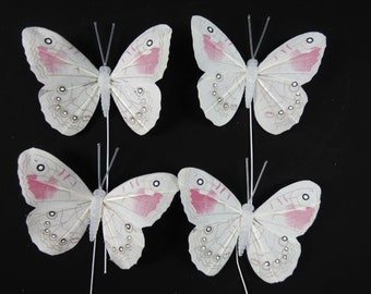 4 Red White Butterflies Feather Butterflies Fake Butterflies Artificial Butterflies Scrapbooking Embellishments Cake Topper