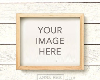 Horizontal Blond Wood, Natural Wood Frame Mockup on Clapboard White Wood Plank Shiplap Wall Background, Photo Mock-up, INSTANT DOWNLOAD
