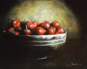 Oil Painting Still Life Fruit Strawberries Fine Art Classic Signed Original
