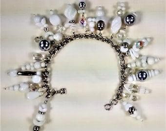 MJ-116, Jingle Jangle White, Silver, and Crystal Charm Bracelet