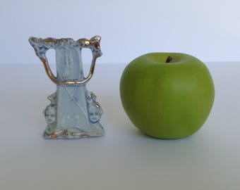 "Baby Blue and Silver Cherub and Harp Bud Vase 3 1/2"" Tall"
