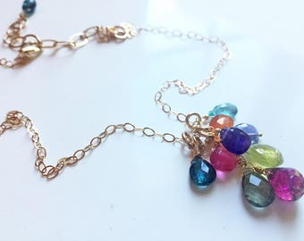 Double Rainbow Necklace, Green Garnet, Pink Sapphire, Amethyst, Apatite, Chalcedony, gemstone necklace, cluster necklace,