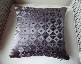 Pillow cover 30cmx 30xm in a coordinated purple taupe and purple Velvet fabrics