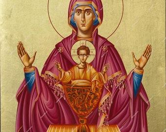 Virgin Mary Akenoto Potirio | Byzantine Christian Orthodox Icon on Wood