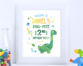 Dino Welcome Sign - Dinosaur Party, Watercolor, Dinosaur Party Kids, Dinosaur Printable, Cuztomizable Sign