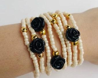 Romantic Bracelet - friendship bracelet - layered bracelets - stretch bracelets - black and pearl - rose bracelet - perfect gift - christmas