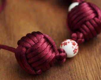 Three Balls Necklace by Monkey Fist Knot & Chinese Button Knot - Maroon(no.S26)