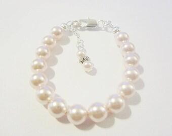 Sterling silver filled Toddler/Childrens/Newborn baby girls pearl bracelet