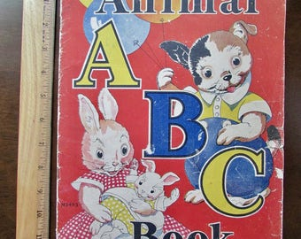 Animal ABC 1930s Children's Book Rhymes by Rowena Bennett Illusustrated by Milo Winter Merrill Publishing Co