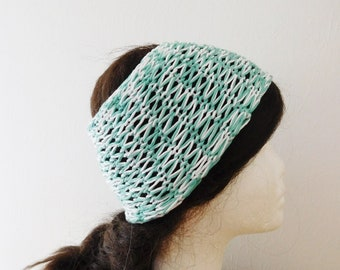 Woman and girl in green and white organic cotton headband, hand knitted