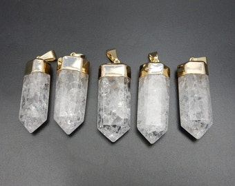 Crystal Crackle Quartz Point Pendant with Electroplated 24k Gold Cap and Bail (S36B19-03)