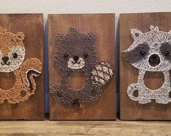 String Art Woodland Creatures, Set of 5