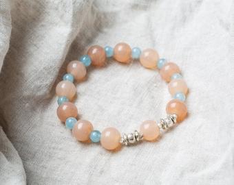 Pink and Blue Gemstone Bracelet, Handmade Spiritual Jewelry, Precious Gemstone Prayer Beads, Yoga Bracelet