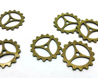 x 1 charm / connector - COG mechanism - brass