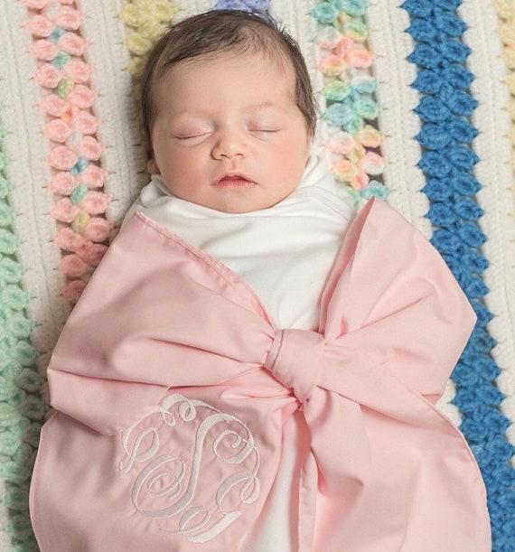 bow swaddle infant monogrammed swaddle sash  bow with blanket