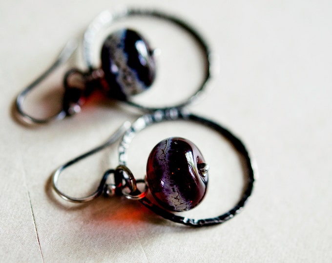 Dangle Earrings, Lampwork Glass, Glass Earrings, Hoop Earrings, Silver Circle, Burgundy Glass, Lampwork Earrings, PoleStar, Red Glass
