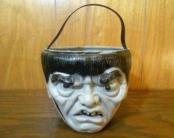 Vintage Monster Halloween Blow Mold Trick Or Treat Pail Frankenstein Igor