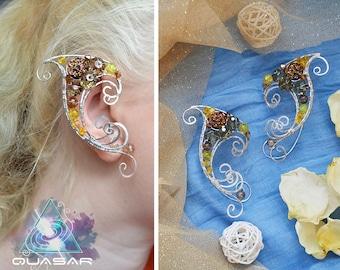 """Elven ears """"Winter Sun""""   Christmas ear cuffs, winter jewelry, xmas jewelry, lotr, elf ears, fairy ear cuff, wire ear cuff, no piercing"""